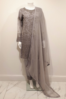 3 Piece grey chiffon straight shirt suit