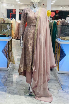 Dusty pink 3 piece chiffon embroidered breezamaxi
