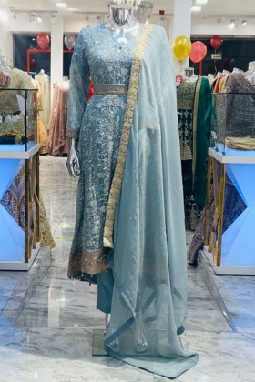 Sky blue 3 piece breezamaxi in chiffon with embroidery