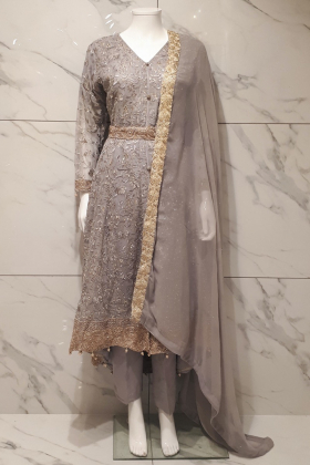 3 Piece chiffon embroidered grey breezamaxi