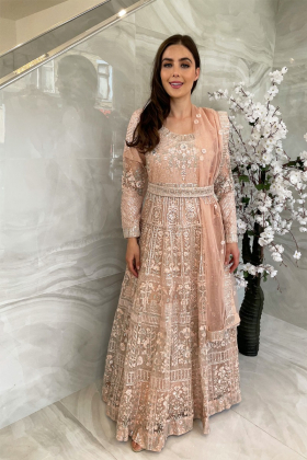 3 Piece luxury embroidered long gown in peach