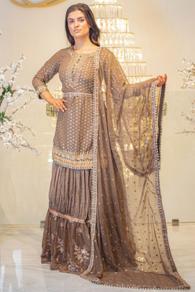 Brown 3 piece luxury sequence embroidered lengha suit