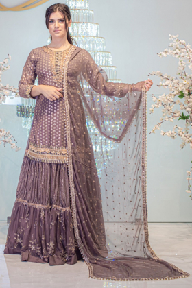 Chocolate mauve 3 piece sequence embroidered lengha suit
