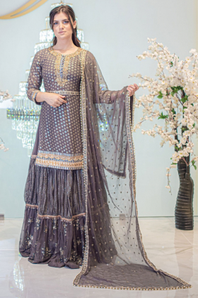 Dark grey 3 piece luxury sequence embroidered lengha suit