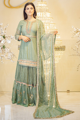 Mint 3 piece luxury sequence embroidered lengha suit