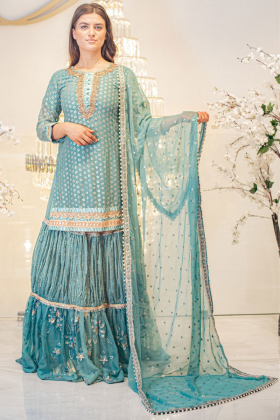 Sea green 3 piece luxury sequence embroidered lengha suit
