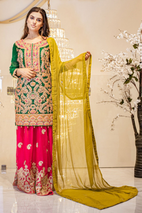 3 Piece green luxury embroidered mehndi lengha suit