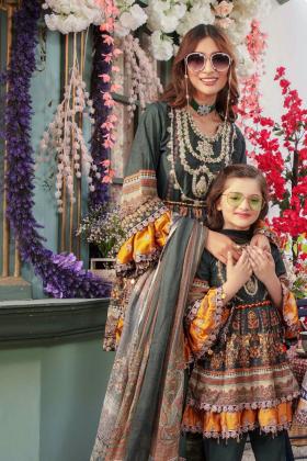 Ivana kids 3 piece luxury embroidered peplum suit in darkgreen