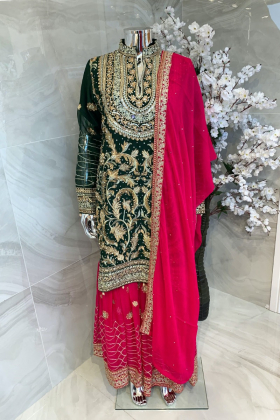 3 Piece luxury chiffon embroidered mehndi suit in green and pink
