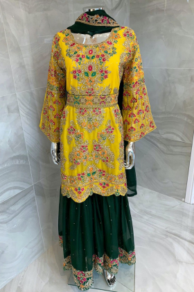 3 Piece luxury embroidered mehdni suit in yellow