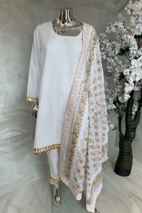 3 Piece casual raw silk off white suit with an embroidered dupatta