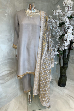 3 Piece casual raw silk grey suit with an embroidered dupatta