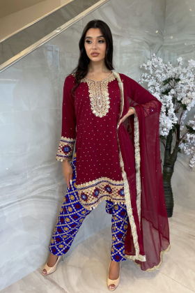 3 Piece chiffon embroidered mehndi suit in maroon
