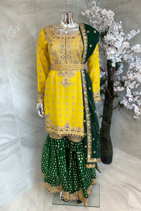 3 Piece chiffon luxury embroidered yellow mehndi suit