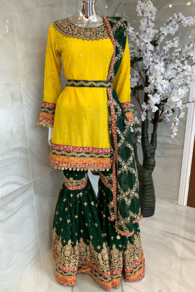 3 Piece luxury embroidered mehndi gharara suit in yellow