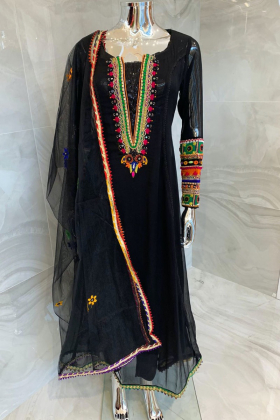 3 Piece luxury embroidered long dress in black