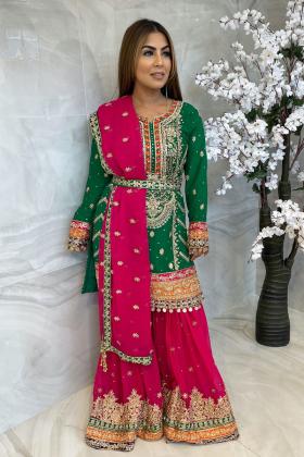 3 Piece green luxury chiffon embroidered mehndi suit