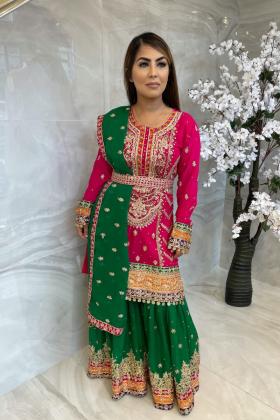 3 Piece pink luxury chiffon embroidered mehndi suit