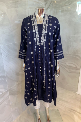 Ethnic casual lawn embroidered kurti in navy