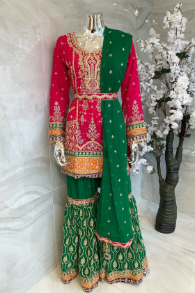 Pink and green 3 piece luxury chiffon embroidered mehndi suit