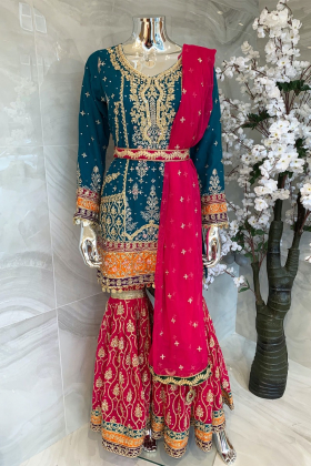 Teal and pink 3 piece luxury embroidered mehndi suit