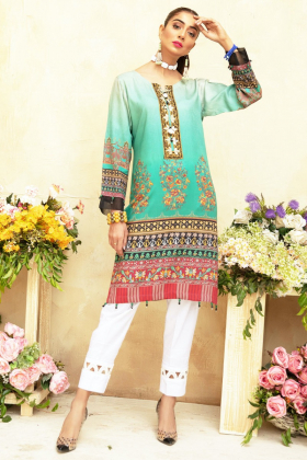 Yolo luxury printed kurti in sea green