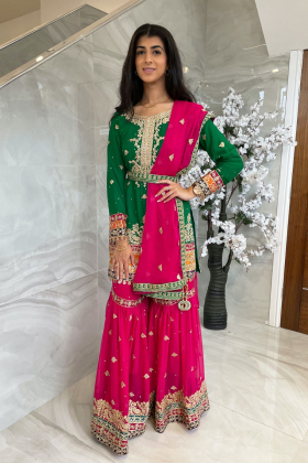 3 Piece luxury embroidered green and pink mehndi gharara suit with mirror embellishments