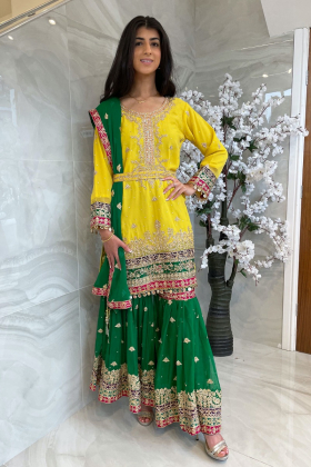 3 Piece luxury embroidered yellow and green mehndi gharara suit
