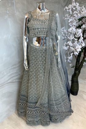 3 Piece luxury embroidered light mint lengha choli