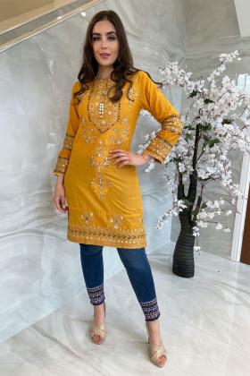 Ethnic luxury lawn embroidered mustard kurti