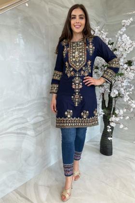 Ethnic luxury lawn embroidered navy kurti