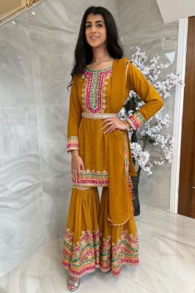 3 Piece chiffon luxury embroidered mehndi gharara suit in mustard