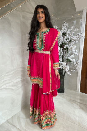 3 Piece chiffon luxury embroidered mehndi gharara suit in pink with mirror embellishments