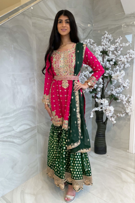 3 Piece pink and green chiffon embroidered gharara mehndi suit