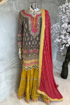 3 Piece luxury embroidered gharara suit in grey and yellow