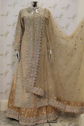 Light Gold Heavy Doom And Pearl Work On Silk Material With Silk Lehnga And Net Dupatta