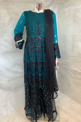 3 Piece luxury embroidered green and black gharara suit