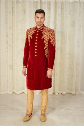 Men's luxury embroidered velvet sherwani in maroon