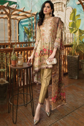 3 Piece lawn luxury printed suit in beige