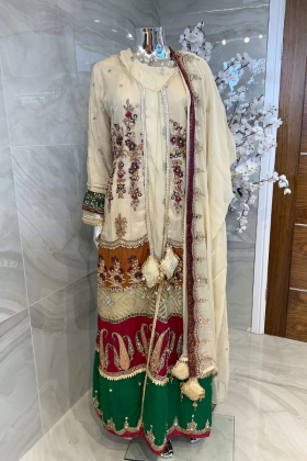 3 Piece chiffon luxury embroidered jacket style suit in gold