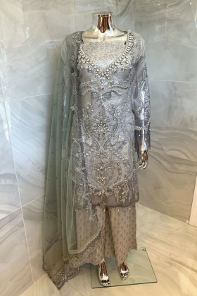 3 Piece luxury embroidered silver suit