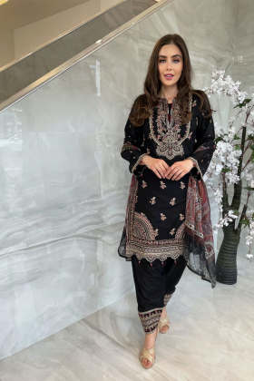 3 Piece luxury embroidered lawn black suit