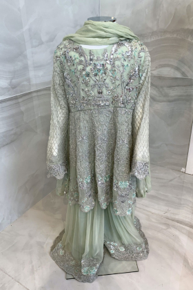 Kids 3 piece chiffon luxury embroidered gharara suit in mint