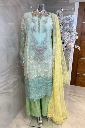 3 Piece luxury embroidered plazo suit in mint