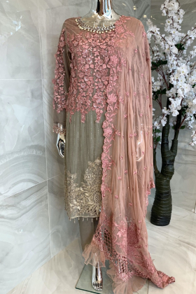 3 Piece luxury embroidered grey and pink suit