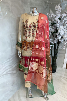 3 Piece luxury embroidered chiffon suit in beige and pink