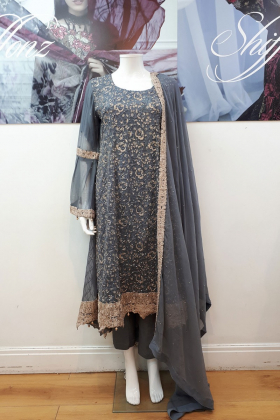 Dark grey partywear with dori thread work
