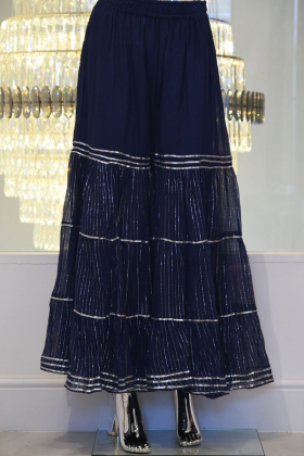 Cotton navy garara with silver lace