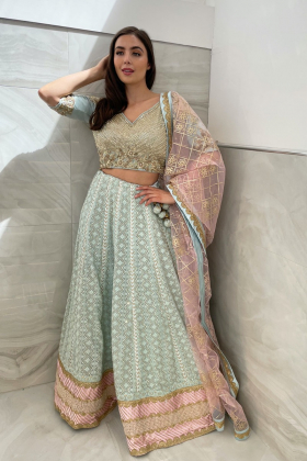 3 Piece luxury embroidered chiffon lengha choli in sky blue and pink