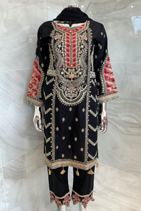 3 Piece luxury casual embroidered lawn suit in black